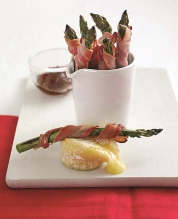 Bacon Wrapped Asparagus With 'gooey' Dipping Cheese