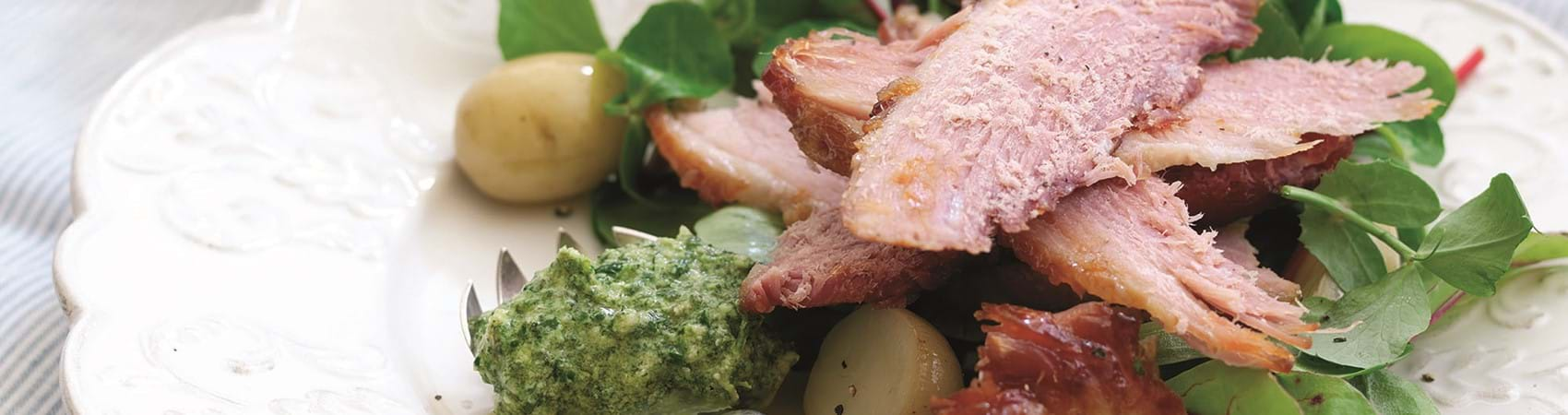 Baked Ham Salad With Fresh Herb Pesto Dressing