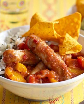 Chipolata Sausages With Chilli And Rice
