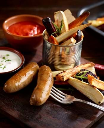 Gourmet Pork Sausages with Roasted Root Vegetable Chips