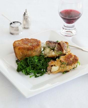 Herby Sausage Cakes With Savoy Cabbage