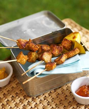 Mini Pork And Mango Picnic Skewers