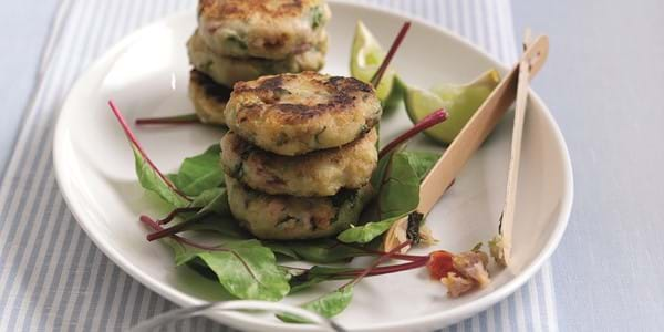 Oak Smoked Bacon Cakes With Lime Chilli
