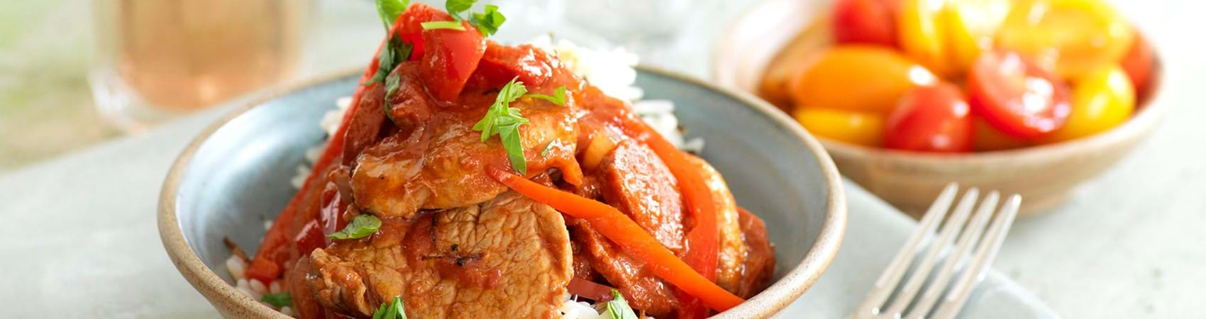 Pan Fried Pork Fillet With Chorizo, Peppers And Tomatoes