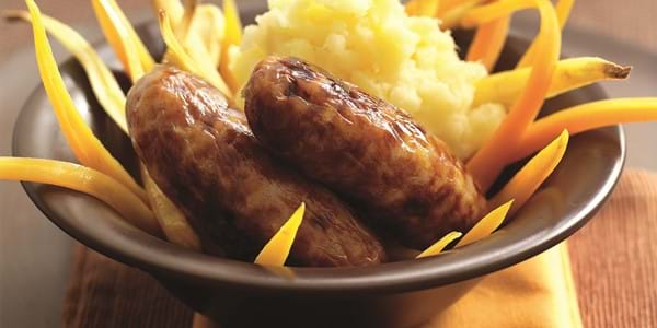 Pork And Apple Sausages With Parsnip And Potato Mash