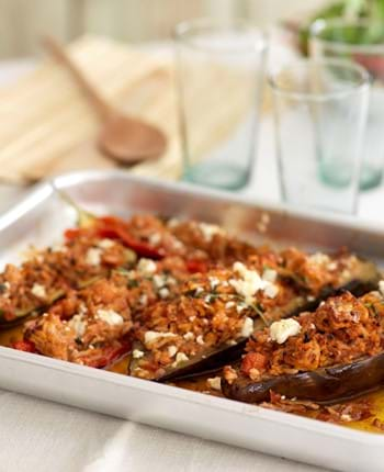 Pork And Feta Stuffed Mediterranean Veggies