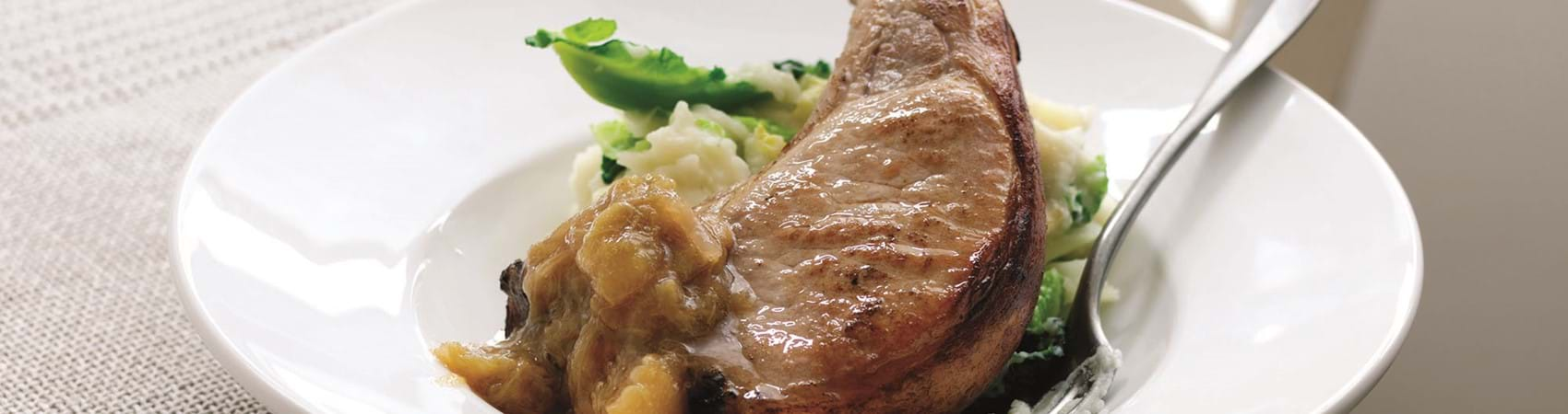 Pork Chops With Rhubarb, Apple And Ginger Chutney
