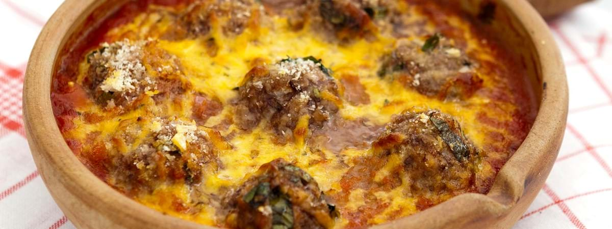 Pork Meatballs Baked With Cheesy Crumb Top