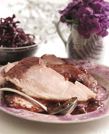 Roasted Gammon With Red Wine And Cranberry And Cinnamon Glaze