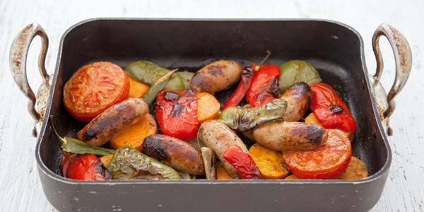 Sausage Bake With Green And Red Peppers