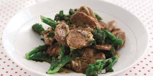 Stir Fry Soy And Honey Pork With Broccoli, Chilli, Lemon And Goats' Cheese