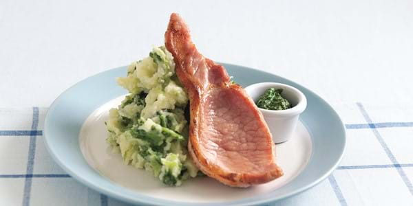 Bacon Chops With Colcannon, Parsley And Basil Pesto