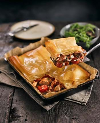 Sausage and feta filo pie