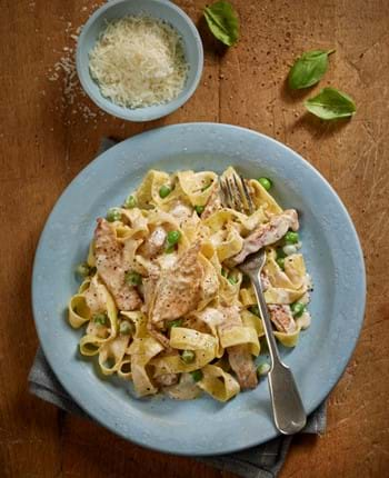 Creamy Lemon Pork Medallions with Pasta and Peas