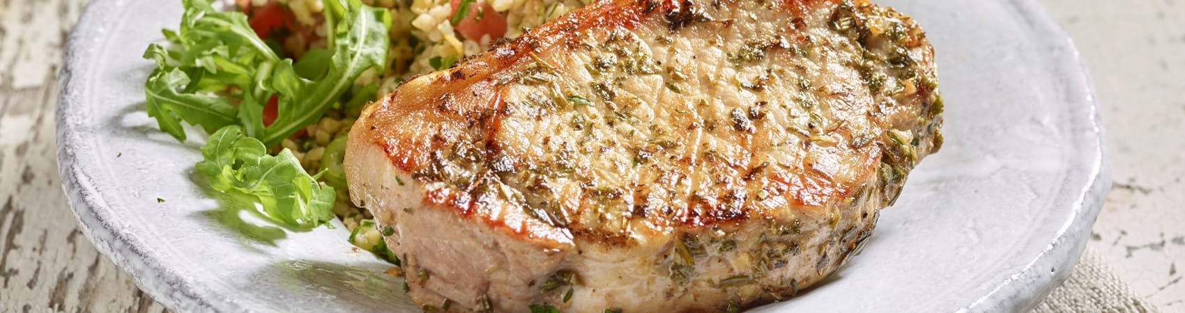Garlic and Herb Pork Steaks with Tabbouleh