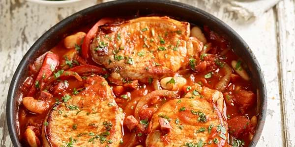 Spanish pork with butter beans and chorizo