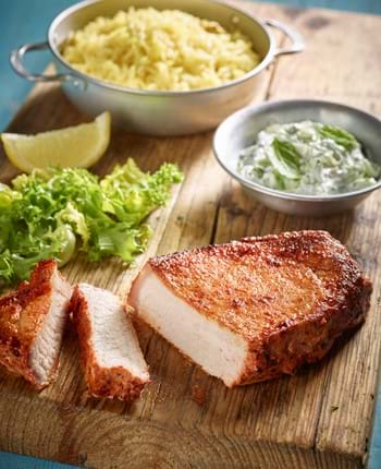 Tandoori pork steaks