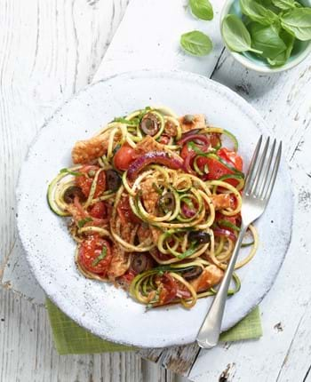 Tomato and Garlic Pork Medallion Puttanesca with Courgetti