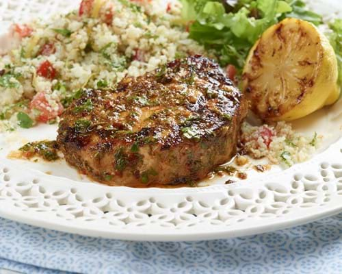 Pork Medallions in a Herb and Spice Chermoula Marinade with Cauliflower Couscous