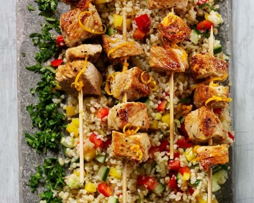 Pork skewers with orange and fennel
