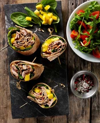 Pork, spinach and mango wraps