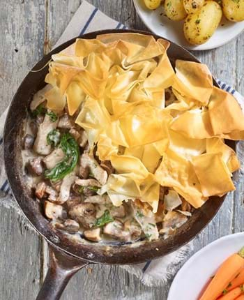 One-pan pork and mushroom filo pie