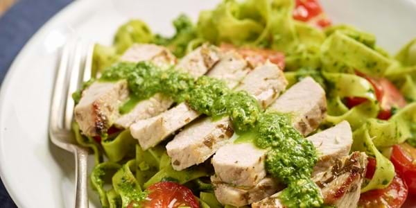 Pork with pesto and pasta