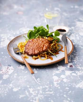 Japanese Caramelised Pork with Vegetable Spaghetti