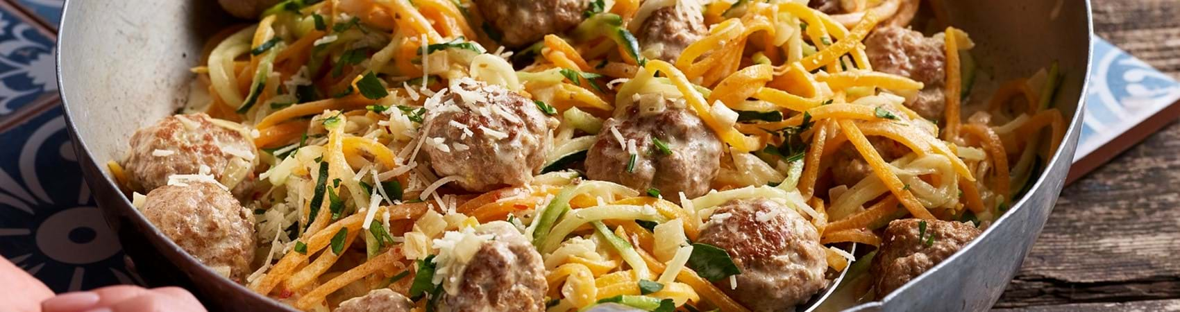 Pork Meatballs with Vegetable Ribbons
