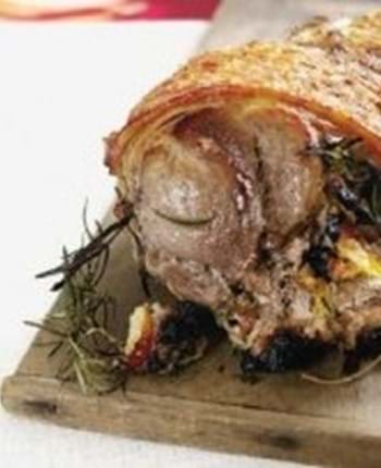 Rolled Shoulder of Pork stuffed with Pork Sausage, Plums and Rosemary