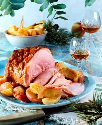 Roast Gammon in Cider with Calvados and Apples