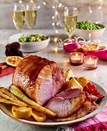 Roast Gammon with Red Wine and Cranberry and Cinnamon Glaze