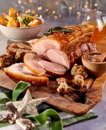 Roast Pork With Pear And Sausage Stuffing Balls