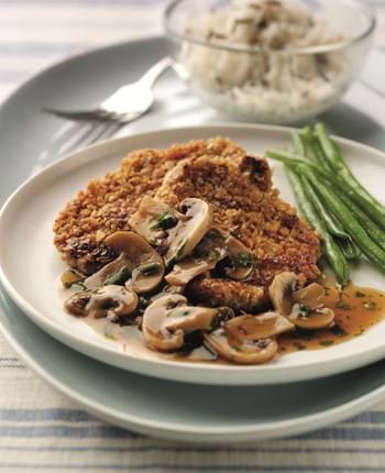 Oat Coated Pork with Spicy Mushroom Sauce